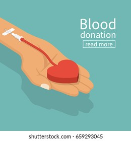 Blood donation concept. Vector illustration isometric design. Donor day. Give life. Big heart in hand of donner connected to vein. Medical abstract background by day of donation.
