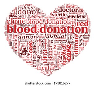 Blood Donation Concept in Word Cloud