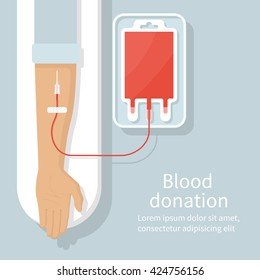 Blood donation day concept for poster. Bag with tube, hand male donor. Vector illustration. Flat design style.  Medical background. Human donates blood
