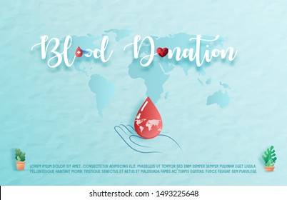 Blood donation design. Creative donor poster. Blood Donor banner. Red drop. Donation volunteer. Blood donation medical poster. Save human life concept. Vector illustration