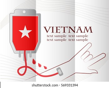 blood donation design made from the flag of  Vietnam, conceptual vector illustration.