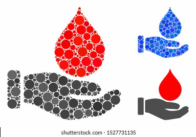 Blood donation hand mosaic of filled circles in different sizes and color tints, based on blood donation hand icon. Vector filled circles are composed into blue mosaic.