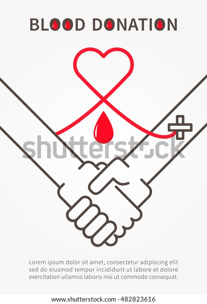 Blood Donation Handshake Vector Illustration Red Stock Vector