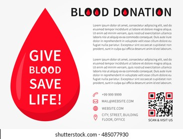 Blood Donation Poster Vector Template Blood Stock Vector Royalty