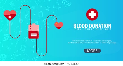 Blood donation. Medical background. Health care. Vector medicine illustration