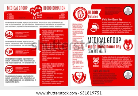 blood donation medical brochure poster template stock vector