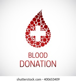 Blood Donation with medical cross poster. Blood cells made of dots.  Infusion therapy. Blood healthcare.