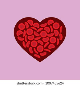 Blood donation — red blood cells on a blood drop shape on a pink background - Vector illustration