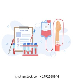 Blood donation and blood test concept, a hand donation blood with elements of sample of blood test tube  and plasma next to syringe and document checklist, medical Che up