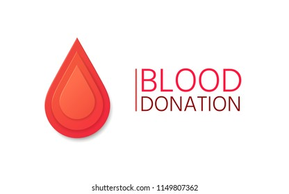 Blood Donation vector background. Blood drop in paper style.