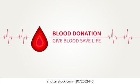 Blutspende, Vektorgrafik. Blutspende kreatives Konzept mit kardiogramm Element und Papier Schnitt Stil roten Tropfen. Lifesaver Kampagne Poster Template Grafikdesign.