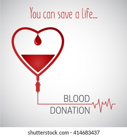 Blood donation vector illustration. Blood Donor Day. Save a life. Infusion therapy. Cardiology healthcare.