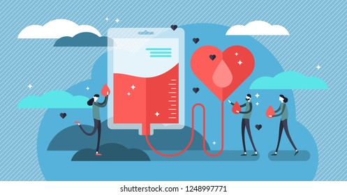 Blood donation vector illustration. Flat mini persons concept for emergency donor aid, transfusion charity and patient support. Pharmacy equipment and collection for urgent hospital surgery situation.