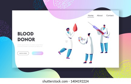 Blood Donor Bank Charity, Transfusion, Website Landing Page, Nurses or Doctors in Uniform with Syringe and Huge Drop of Blood. Laboratory, Healthcare Web Page, Cartoon Flat Vector Illustration, Banner