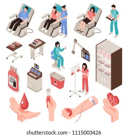 Blood donor in chair professional staff and medical equipment set of isometric icons isolated vector illustration