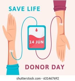 Blood donor day poster. Bag with tube and hand. Blood donation day concept. Flat design illustration