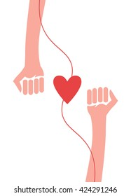 Blood Donor With Heart Shape. Vector Illustration.