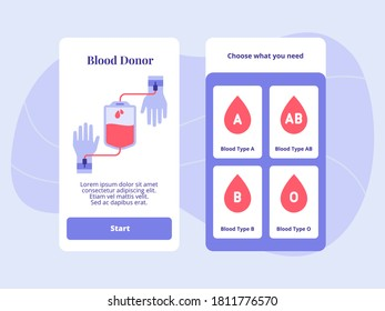 Blood donor type A AB B O for mobile apps template banner page UI with two variations modern flat color style
