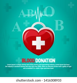 Blood donor world day background with red heart