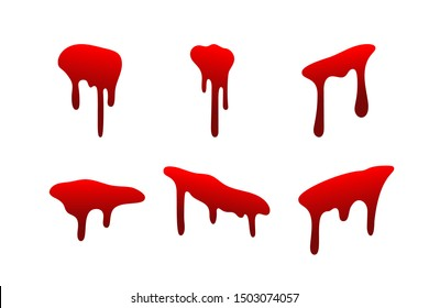 Blood drip set. Drop blood isloated white background. Happy Halloween decoration design. Red splatter stain splash spot, horror blot. Bleeding bloodstain scare texture. Liquid paint Vector illustraton