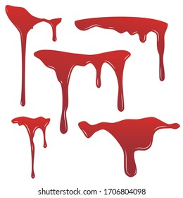 Blood drip set. Drop blood isloated white background. Bleeding bloodstain scare texture. Liquid paint Vector illustraton.