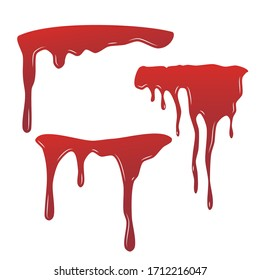Blood drip set. Drop blood isloated white background. Happy Halloween decoration design. Red splatter stain splash spot, horror blot. Bleeding bloodstain scare texture. Liquid paint