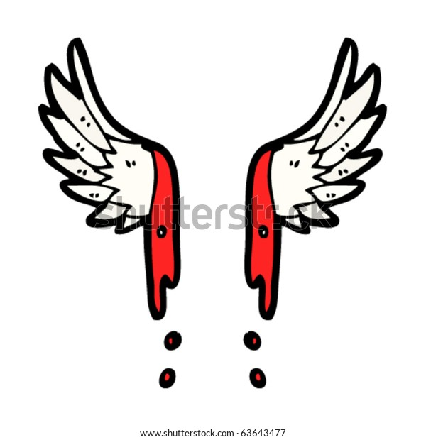 blood dripping angel wings drawing