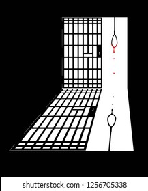 A blood dripping hangmans' noose in a prison cell for the concept of Death Penalty. Vector illustration.