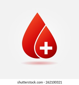 Blood drop red vector icon - medical logo or symbol