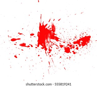 Blood drops and splatters on white background, vector