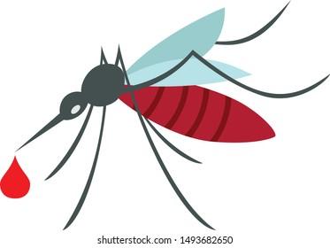 Blood filled Mosquito sign, Mosquitoesborne diseases - dengue fever, zika disease, yellow fever, chikungunya disease, filariasis, malaria , enchaphalitits. Simple flat style vector eps10 illustration
