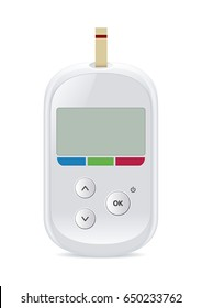 Blood glucose levels machine white color blank screen. Ideal for mock up and other.