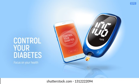 Blood glucose meter with mobile phone.  Vector EPS10