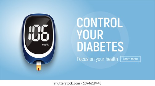 Blood glucose meter web banner. Vector EPS10