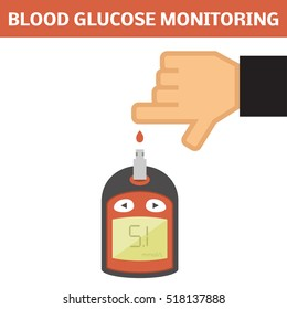 Blood glucose monitoring concept. Vector illustration of electrical glucometer