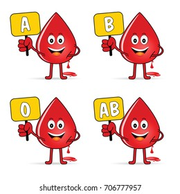 blood group icon with drop set illustration in colorful