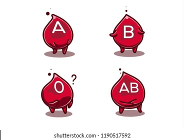 Blood group in shiny cartoon comic style. Blood advertising clipart for healthcare purpose such as donation, knowledge content, medical campaign etc.