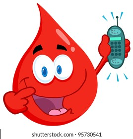 Blood Guy Holding A Cell Phone .Vector Illustration