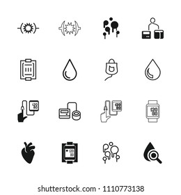 Blood icon. collection of 16 blood filled and outline icons such as water drop, blod pressure tool, drop counter. editable blood icons for web and mobile.