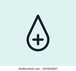 Blood icon line isolated on clean background. Blood icon concept drawing icon line in modern style. Vector illustration for your web site mobile logo app UI design.