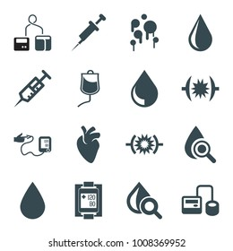 Blood icons. set of 16 editable filled blood icons such as water drop, syringe, blod pressure tool, drop under magnifier, pressure