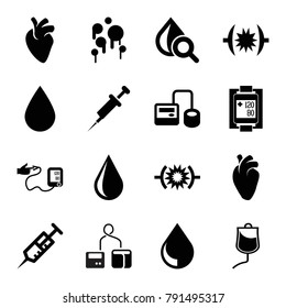 Blood icons. set of 16 editable filled blood icons such as water drop, syringe, blod pressure tool, drop under magnifier, heart organ