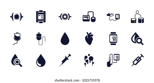 Blood icons. set of 18 editable filled blood icons: syringe, blod pressure tool, drop under magnifier, pressure, drop counter