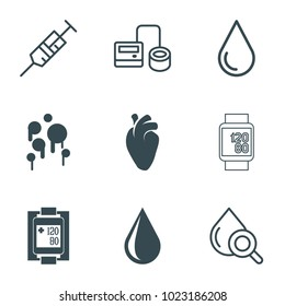 Blood icons. set of 9 editable filled and outline blood icons such as water drop, heart organ, syringe, blod pressure tool