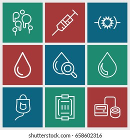 Blood icons set. set of 9 blood outline icons such as water drop, syringe, blod pressure tool, drop under magnifier