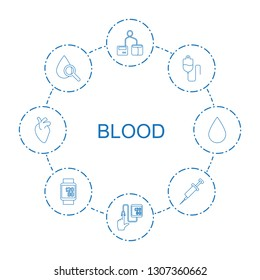 blood icons. Trendy 8 blood icons. Contain icons such as blod pressure tool, blood pressure, drop counter, drop under magnifier, syringe, pressure measure. icon for web and mobile.