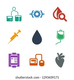 blood icons. Trendy 9 blood icons. Contain icons such as heart organ, blod pressure tool, blood pressure measure, drop counter, water drop, syringe. icon for web and mobile.