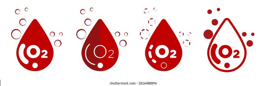 Blood oxygen saturation icons set. Modern flat design. Oximeter.