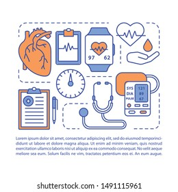 Blood pressure article page vector template. Systolic, diastolic pressure rate. Brochure, magazine, booklet design element, linear icons, text box. Print design. Concept illustrations with text space