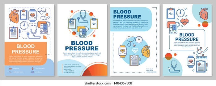 Blood pressure brochure template layout. Flyer, booklet, leaflet print design with linear illustrations. Systolic, diastolic pressure rate. Vector page layouts for annual reports, advertising posters